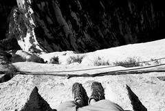 (JC.Murphy) Tags: china camping bw cliff white black film face vertical danger zeiss haze weekend walk 28mm rangefinder drop adventure xian 100 ikon range shaanxi orangefilter huashan  fomapan qinling plankwalk