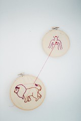 l i o n h e a r t (Rachel Dowda) Tags: art girl breast embroidery crafts chest lion poetic needlepoint fabric string lionheart