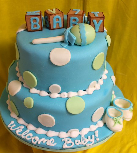 Baby Block and Rattle Custom Cake