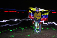 VIA Columbia! (scienceduck) Tags: light ontario canada lightpainting beach me night mask flag july wideangle s moi columbia led huron lakehuron mexicanwrestler 2014 ipperwash mexicanmask scienceduck 5c4r7 columbianflag