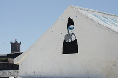 Blue Graffiti (JSEBOUVI : thanks for 1.9 million views !) Tags: blue sky white portugal branco hair 50mm graffiti photo eyes nikon noir torre foto tag estrela preto vermelho oeiras blanc bouvier ligne carcavelos photographe d5100 jsebouvi