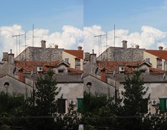 Redemption Roofs (Viktor_Bublic) Tags: summer sky stone stereoscopic crosseyed day croatia stereo rovigno rovinj adriatic istria hrvatska stereoscopy istra 2014 kroatien mediterranian xeyes crossview xview xeyed