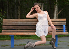 Looking Good While I Wait [Explored #14 9/2/14] (Luv Duck - Thanks for 15M Views!) Tags: cute pretty rebecca young longhair parkbench prettygirl cowboyboots earthquakepark girlsofanchorage