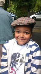 By gum lad! Liam looks dapper in Grandad's flat cap.