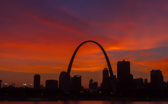 Arch glow (Mike Matney Photography) Tags: sunset sky clouds canon illinois midwest arch cloudy stlouis august missouri mississippiriver 2014 eaststlouis eos7d malcomwmartin