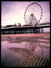 Reflection of Central Pier Atmospheric (Deydodoe) Tags: uk sea reflection beach wheel coast pier seaside sand ferris shore ferriswheel seashore blackpool iphone centralpier 2014 blackpoolcentralpier deydodoe