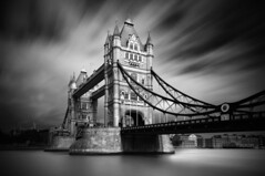 Tower Bridge (Christo Rees) Tags: longexposure bridge sky blackandwhite bw white black london tower water thames architecture clouds towerbridge river long exposure day le nd density neutral neutraldensity nd10