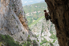 Rock climber (canyonjunkie_com) Tags: sardegna italy man guy nature muscles sport rock naked landscape freedom sardinia reaching action outdoor altitude panoramic canyon climbing strength climber extremesports activity youngadult rockclimbing challenge highup fit sporty scenics physicalactivity buggerru muscularbuild