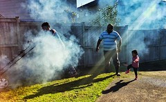 Lawn mowing (Arun S Pillai) Tags: family people sunlight mobile work kid smoke activity drama note3 samsunggalaxy