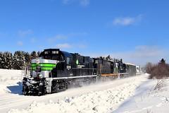 Repainted RS-18's first and third (Michael Berry Railfan) Tags: sfg sfg1819 sociétéduchemindeferdelagaspésie gaspe gaspesie train windmilltrain winter snow