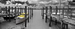 yellow boat pano dargaville 1 sel (Bilderschreiber) Tags: newzealand bw panorama white black nature yellow pano natur northisland sw northland neuseeland selective boart nordinsel schwarzweis dargaville