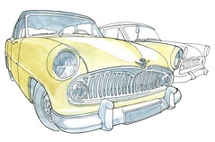 Deux Simca Versailles (gerard michel) Tags: auto sketch simca croquis