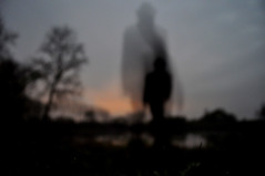 déplacement (asketoner) Tags: trees shadow lake selfportrait nature hat night landscape pond ghost disappearing rochefortsurloire