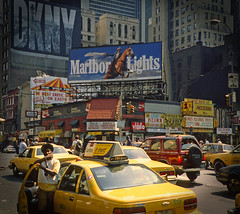 Marlboro Lights (TablinumCarlson) Tags: street new leica york nyc usa ny yellow analog america taxi united dia scan explore chrome cap marlboro 1992 states agfa amerika c2 vignette manhatten flim dkny staaten vereinigte explored diepositive