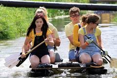 Crazy Raft Race _ 125 (lens buddy) Tags: uk england wet somerset rafting raft watersports fancydress cameraclub summergames langport thorney canoneosdigital crazyrafting lowlandgames2014