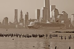 Cruise Ship Norwegian Gem on the Hudson River. (pmarella) Tags: mist sepia pmarella hudsonriver hazy humid onthewaterfront riverviewpkproductions icoverthewaterfront cruiseshipnorwegiangem