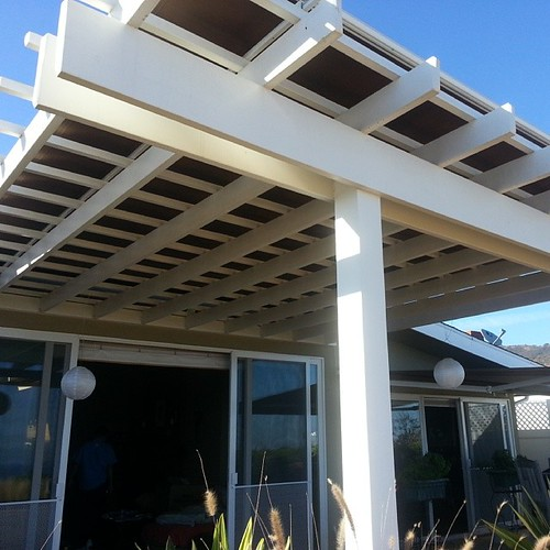 This Pergola Is Painted White And Has A Motorized, Retractable Awning.  Malibu, Ca
