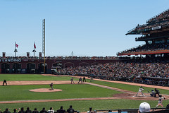 Play Ball! (mon_ster67) Tags: game sports field canon baseball crowd bat peoples event entertainment enjoy pitch sfgiants giants mon catcher pitcher canoneos dodgers playball firstbase attpark busterposey pablosandoval giantsvsdodgers americasnationalpastime mon canoneost1i t1i