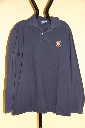 Polo blu Collegno Basket logo leone
