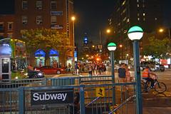 New York Minute (Jeffrey Friedkin) Tags: street city nyc newyork bicycle night buildings subway outdoors lights evening cityscape manhattan streetscene newyorker cityscene crowdscene newyorkphoto newyorkscene