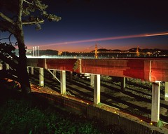 Doyle Drive and a Colorful Flashlight (RZ68) Tags: california road old bridge light sunset red sky green film night demolish painting concrete drive golden evening construction gate san francisco long exposure dusk steel down demolition gone viaduct velvia doyle tear streaks provia rebar deconstruction raised raking rz67 causway e100