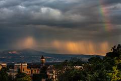 The last sun ray (luigig75) Tags: sunset italy sun storm rome roma rain clouds canon rainbow italia tramonto ray cell rays tamron arcobaleno lazio temporale 70300 450d