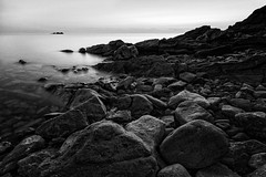 Cape Breton Rocks at Sunset (retepwal) Tags: longexposure sunset vacation bw canada water landscape nationalpark highlands rocks novascotia dusk cape capebreton breton pleasantbay atlanticcanada maratimes
