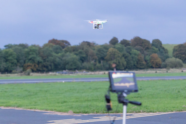 Phil's DJI Phantom with the screen displaying what the GoPro is seeing.