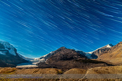 Star Trails over Columbia Icefields (Amazing Sky Photography) Tags: canada nightscape glacier alberta moonlight startrails snowdome columbiaicefields athabascaglacier stutfieldglacier lateralmoraine terminalmoraine jaspernationalparkadvancedstackerplusactions
