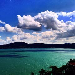 This color is real color on the sea. It's turquoise.. (MuratDo) Tags: sky cloud weather clouds cu turquoise cumulus bosphorus sariyermeteorolojiistasyonu