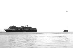 cruise bw lighthouse white black holland amsterdam america ship harbour line ms lesvos nieuw 2014 mytliene