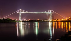 Night at Newport Transporter Bridge (technodean2000) Tags: uk bridge reflection water wales night river lights nikon industrial south newport transporter d5200