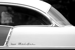 BelAir (grafficartistg4) Tags: auto white black reflection classic chevrolet belair 1955 glass monochrome car metal america reflections automobile gm paint shine automotive reflect chevy chrome american reflective americana shiney collectible 55 generalmotors