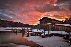 Holderness (Robert Allan Clifford) Tags: sunset snow sky winter littlesquamlake lake landscape lakeice dock boathouse color newhampshire newengland water hdr canon 5d markiii 2470f28l outdoors beautiful lakesregion reflection robertallanclifford robertallancliffordcom robcliffordphotography