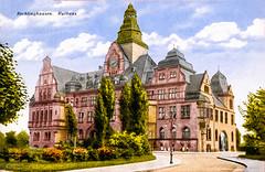 Recklinghausen 1925 (zimmermann8821) Tags: architektur deutschesreich druck fotografie fotografiekoloriert sommer weimarerrepublik rathaus recklinghausen grünanlage rathausturm rathausuhr