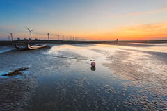-  (samyaoo) Tags: sunset reflection green beach water windmill silhouette clouds coast sand power wind ripple taiwan   eco turbine turbines   changhua        sandripples