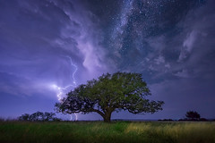 Awakening (Mike Mezeul II Photography) Tags: storm tree weather horizontal night clouds stars landscape nikon heaven texas historic workshop astrophotography albany thunderstorm lightning d800 milkyway fortgriffin mezeul