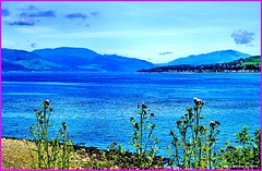 Scotland Gourock looking towards Loch Long that goes far into the mountains of Argyll 18 June 2014 by Anne MacKay (Anne MacKay images of interest & wonder) Tags: mountains june by landscape anne scotland long heather argyll picture mackay loch 18 gourock 2014