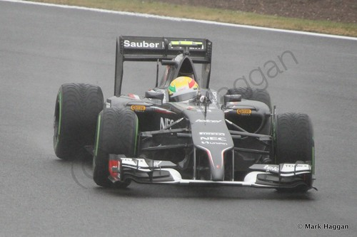 Esteban Gutierrez in his Sauber during Free Practice 3 at the 2014 British Grand Prix