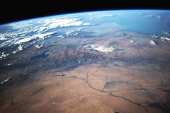 Iraq and Kurdistan Context (sjrankin) Tags: fire iran edited smoke iraq middleeast nasa limb erbil mosul iss kurdistan arbil kirkuk caspiansea tigrisriver   earthslimb iss040 iss040e91753 14august2014