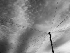 Day 180/365 (Conor Clarke Photography) Tags: sky white black clouds phone pole wires telegraph iphone