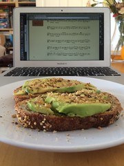 Avocado and tunes for breakfast.