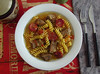 Stewed veal cubes with chorizo ​​and fusilli pasta - Food From Portugal (Food From Portugal) Tags: food portugal comida pasta massa chorizo recipes veal fusilli chouriço vitela