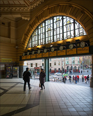 melbourne-5445-ps-w (pw-pix) Tags: old light green station yellow hotel beige arch shadows patterns railway australia melbourne stainedglass victoria railwaystation tiles trainstation cbd clocks entry mainentrance meetingplace leadlight flindersststation archedwindow youngandjacksons cornerflindersandswanstonstreets