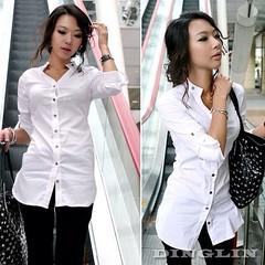 เสื้อเชิ้ตทำงาน แฟชั่นเกาหลีใหม่สวยอินเทรนด์ นำเข้า ไซส์L/XL สีขาว พร้อมส่งMI506 ราคา 970 บาท เสื้อเชิ้ต แบบใหม่เสื้อเชิ้ตแฟชั่นเกาหลีแขนยาวสวย เสื้อคอปกแบบเชิ้ตเก๋แนวเลดี้น่ารักแบบเชิ้ตตัวยาวสวยใส่สบาย สำหรับสาวเซ็กซี่ จะใส่เป็น เสื้อผ้าชุดทำงาน สวยสะกดท