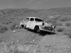 Lost in the desert (Spork Outdoors) Tags: california bw abandoned car lost nationalpark alone desert rusty forgotten deathvalley desolate