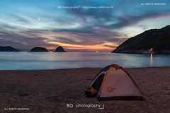 Camping. (bgfotologue) Tags: camping sunset red sea hk reflection beach water sunrise hongkong dawn mirror coast twilight backyard glow magic snoopy   eastcoast  saikung westbay saiwan      burningclouds  snoopyisland skymirror  highislandreservoir tailongsaiwan
