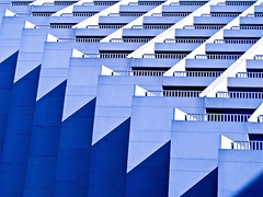 blues & white design- ( Explore ) (Demetrios Lyras) Tags: blue white abstract building art colors architecture shadows angle fav50 blues financialdistrict balconies sfist hyattregency designart fav10 fav5 linescurves fav25 explored sanfranciscocausa anglesanglesangles