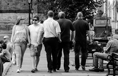 Excuse me (pootlepod) Tags: street blackandwhite men me girl monochrome photography pavement move squeeze passing sidwalk polite excuse manners stphotographia