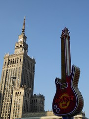 PKiN vs Hard Rock Cafe.... (stillunusual) Tags: street travel sky guitar streetphotography poland polska bluesky shoppingmall warsaw hardrockcafe warszawa pkin 2014 palackulturyinauki socialistrealism travelphotography zlotetarasy pałackulturyinauki travelphoto palaceofcultureandscience travelphotograph złotetarasy goldenterraces